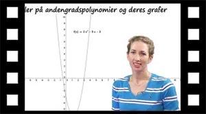 Eksempler på forskellige Andengradspolynomier og deres grafer.