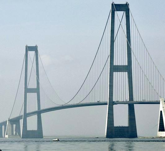 Storebælts broen er en hængebro, hvor formen af kablet i den midterste sektion  kan beskrives ved en parabel.