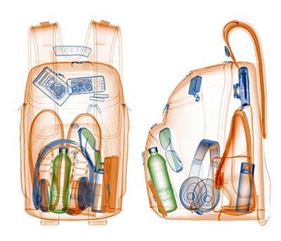 I lufthavne kontrolleres  håndbagage ved hjælp af røntgen.