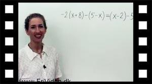 Eksempel med minusparentes i ligningsløsning