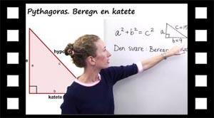Hvordan en katete sidelængde beregnes med Pythagoras