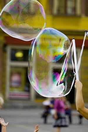 Man kan også ballancere en sæbeboble med den ballon