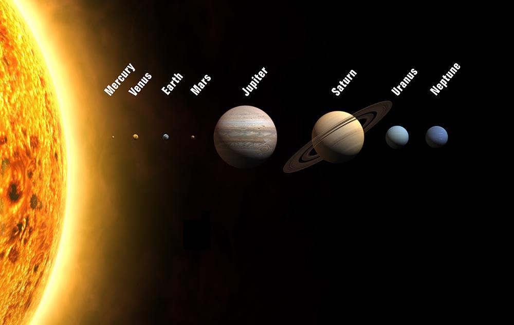 Planeterne i vores solsystem.  Kilde: NASA
