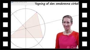 Konstruktion af den omskrevne cirkel af en trekant med en passer eller Geogebra