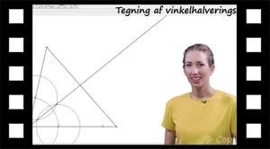 Tegning af vinkelhalveringslinje med passer eller med Geogebra
